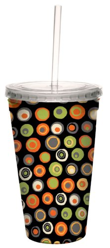 Tree-Free Greetings 80227 Hip Halloween Dots by Debbie Mumm Artful Traveler Double-Walled Cool Cup, Reusable Straw, 16-Ounce ()