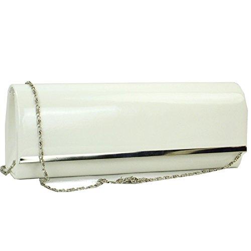 zarla nuevo patent de diseño mujeres Ladies embrague Bag Evening Party Prom UK Blanco - blanco