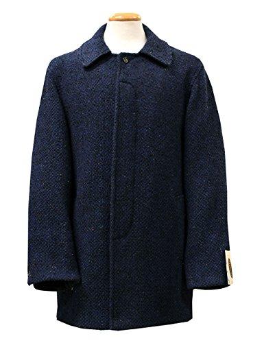 Mens Wool Coat Handwoven Navy Tweed Made In Ireland Large - Irish Tweed Jackets