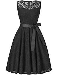 Swing Dress, Sheer Illusion Formal Dress for Juniors Sleeveless Lace (Black XXL)