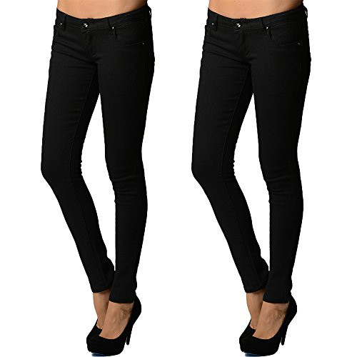 (2 Pack Dinamit Juniors 5 Pocket Skinny Uniform Pant BLK BLK 7)