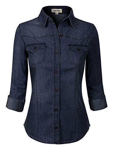 - Design by Olivia Women's Roll up Sleeve Button Down Chambray Denim Shirt (S-3XL) Dark Denim XL