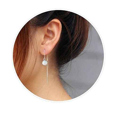 face Significantly Small s925 Sterling Silver Ear Wire Earrings earings Dangler Eardrop Round Ball Full Diamond Ear Wire Long Creative Geometric Women Girls Ear Chain Earring