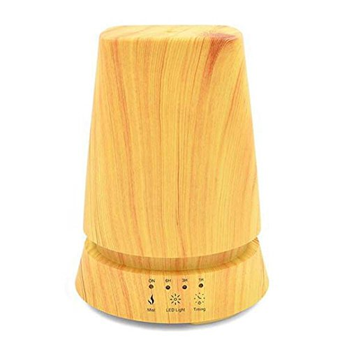JIAYUE Aroma Essential Oil Diffuser LW-02 350ml Ultrasonic Mute Humidifier Aromatherapy Diffuser LED Color Night Light Intelligent Power Off Timer Function Table Lamp Shape, Wood grain, 15x15x20cm