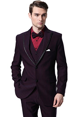 CMDC Men's Three Pieces Striped Groom Wedding Blazer Suits Plus Size D365CMDC£¨Red,50L£© by CMDC