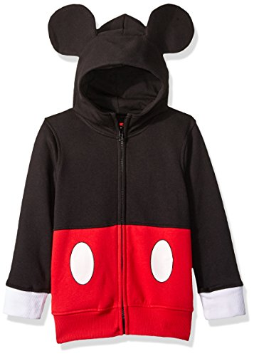 Disney Boys' Little Mickey Mouse Costume Hoodie, Black/red, 5]()