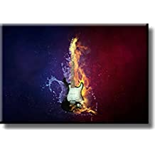 Electric Guitar on Fire Picture on Acrylic , Wall Art Décor, Ready to Hang