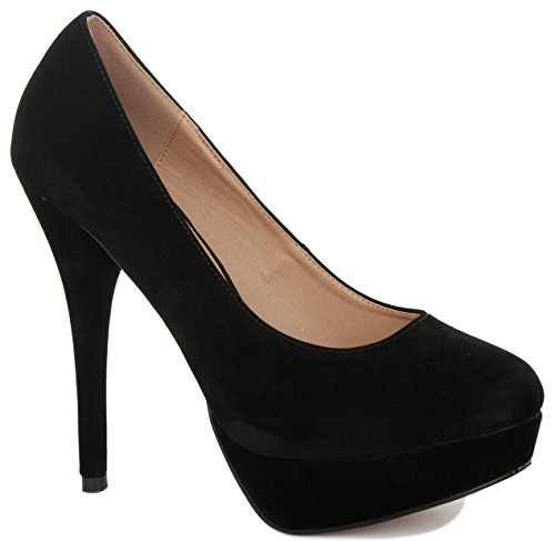 NEW LADIES WOMENS PLATFORM STILETTO PARTY PROM WEDDING MID HIGH HEEL PUMPS COURT SHOES SIZE Black Suede