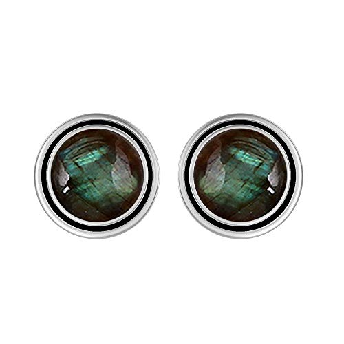 (Genuine 8mm Round Shape Labradorite Stud Earrings 925 Silver Plated Handmade Stud Earrings Jewelry For Women Girls)