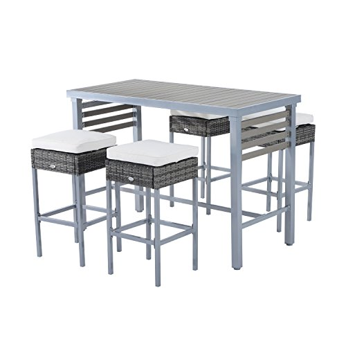 Outsunny 5 Piece Outdoor Rattan Wicker Dining Table Chairs Conversation Patio Furniture Set – Grey/Cream White