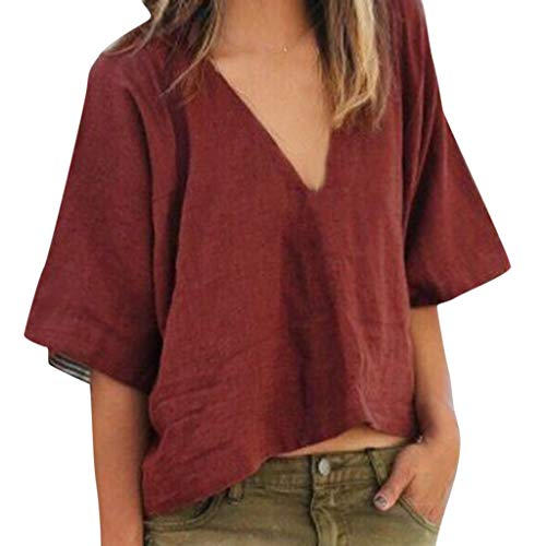 T-Shirt Tops for Women,Dainzuy Ladies Casual 3/4 Sleeve Linen Tunic Tops V Neck Solid Color Loose Retro Blouse Wine