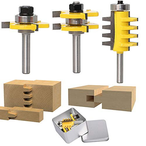(3PCS 1/4-Inch Shank Router Bit Set, Tongue and Groove Router Bit & Reversible Finger Joint Router Bit,Woodworking Chisel Cutter For Density Boards, Solid wood, MDF, Chipboard, Splints, Etc. )