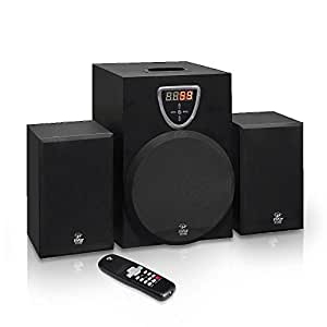 Pyle 2.1 Channel Home Theater Stereo Speaker System for TVs, Laptops, Computers or MP3 Players - Equipped with 3 Selectable Aux Inputs and Wireless Remote Control