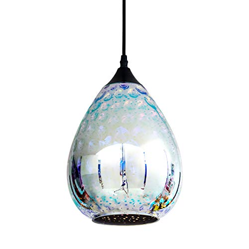 YISURO Modern Pendant Light with Colored Hammered Glass, Mirror Reflection Glass Pendant Ceiling Lighting Fixture for Living Room, Bedroom, Restaurant, 8in, Chrome (Light Hammered Pendant Metal)