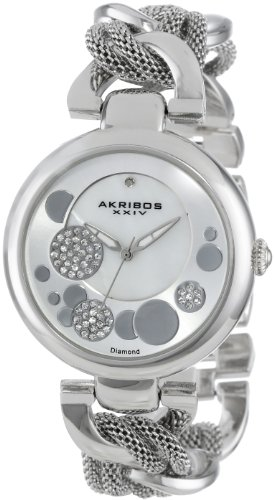 Akribos XXIV Women's AK643SS Lady Diamond Silver-Tone Dial Mesh and Chain Link Bracelet Watch