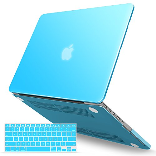iBenzer Macbook Pro 13 Inch Case 2012-2015, Soft Touch Hard Case Shell Cover with Keyboard Cover for Apple MacBook Pro 13 with Retina Display A1425 1502, Sky Blue, MMP13R-SBL+1