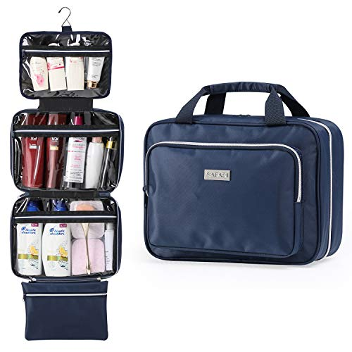 Large Hanging Travel Toiletry Bag for Men and Women by SAFARI (Blue) - Durable Waterproof Nylon Organizer with Clear Compartments and Detachable Pouch - Comes with Drawstring Bag - The Perfect Gift