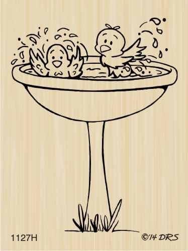 Bird Bath Rubber Stamp by DRS Designs