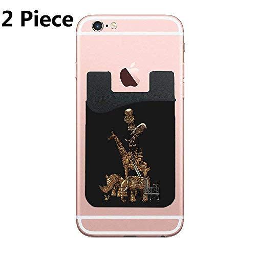 CardlyPhCardH Two Menagerie Cell Phone Stick On Wallet Card Holder Phone Pocket for All Smartphones (Black) ()