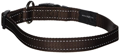 ROGZ Reflective Dog Collar for Large Dogs, Adjustable from 13-22 inches, Brown ()