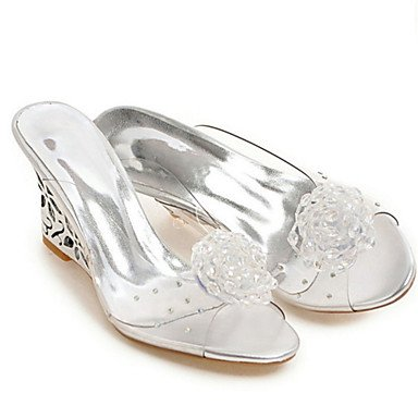 RTRY 5 Us8 5 Women'S Silver Rubber Eu39 Heel Shoes Gold Silver Dress Wedge Casual Club Summer Applique Uk6 Comfort Cn40 Sandals aaHrqwZ