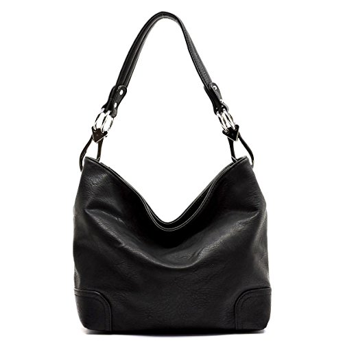 Elphis Fashion Classic Shoulder Bag Hobo Bucket Handbag Purse (79-Black)