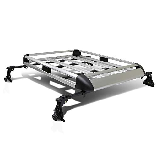 - 50 inches x 38 inches Aluminum Roof Rack Top Cargo Carrier Basket+Cross Bar (Silver)
