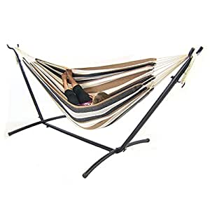 Sunnydaze Brazilian Double Hammock with Stand, 2 Person, Portable Hammock Bed for Indoor or Outdoor Use, with Carrying Pouch, Max Weight: 400 Pounds, Calming Desert