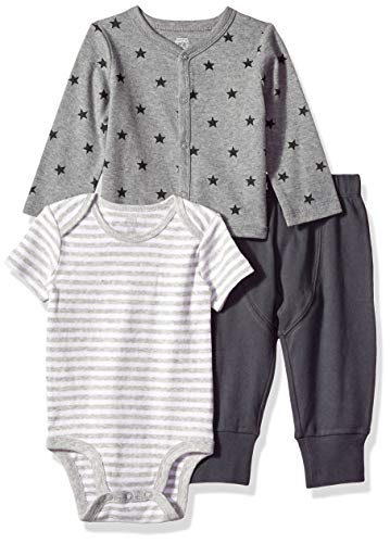 (Amazon Essentials Baby 3-Piece Cardigan Set, Uni Star Stripe Neutral, Preemie)
