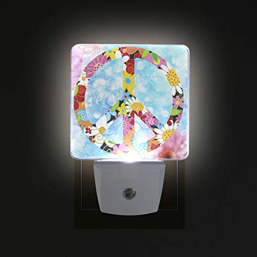 (Nugier Peace Sign LED Night Light with Smart Dusk to Dawn Sensor Illustration Plug in Night Light Perfect for Dark Bedroom)