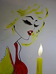 Marilyn Monroe - Happy Birthday Mr. PRESIDENT :: Abstract Modern POP Style - Acrylic Painting on White Paper - SIZE:11\