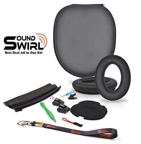 Leather Ear Pad - SoundSwirl Replacement Cushion Made of Soft Korean Leather Ear Pads, Headband and Headphone PU Case Repair Kit for Bose QC2, QC15 - The Headband is Compatible with ONLY These Two Models