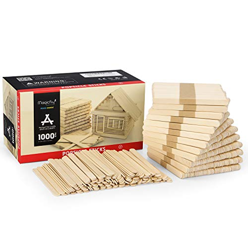 Magicfly Popsicle Sticks, 1000pcs, Natural Wooden Food Grade Craft Sticks, 4-1/2 Inch Great Bulk Ice Cream Sticks for Craft Project, Home Decoration ()