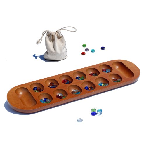 Coffee Table African Stone Game - Solid Wood with Walnut Stain (Mancala Set)