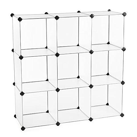 SONGMICS 3-Tier DIY Storage Organizer 9-Cube Bookcase Plastic Wardrobe White ULPC33W - Modular Office Storage