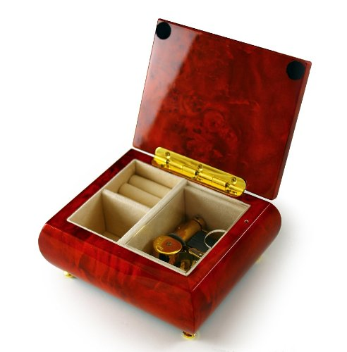 Gorgeous Wood Tone Classic Beveled Top Music Jewelry Box - There is Love (Wedding Song) - SWISS by MusicBoxAttic (Image #2)