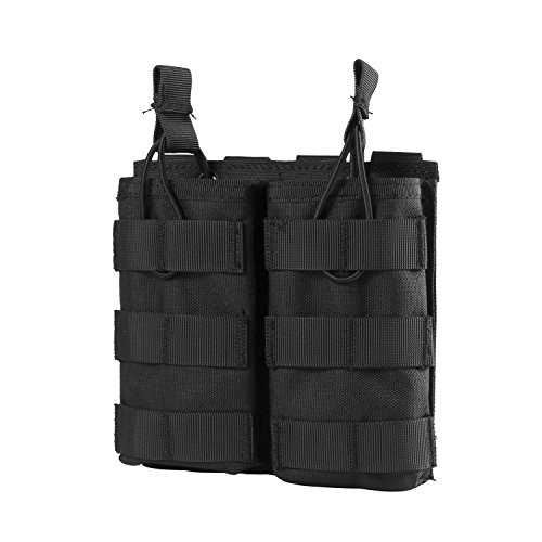 OneTigris Tactical MOLLE Double Open-Top Mag Pouch for AR M4 M16 HK416 Magazines (Black - 1000D Nylon)
