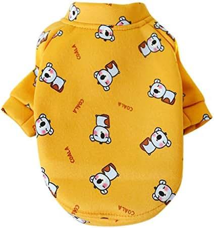 Pet Warm Sweatshirt, Vine_MINM Cat Clothing Cartoon Printed Dog Coat Winter T-Shirt Puppy Dresses Vest Shirts Sundress