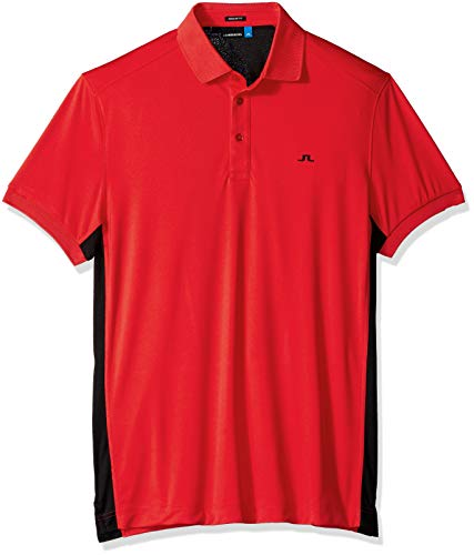 J.Lindeberg Men's Two Tone Jersey Polo Shirt, Racing red, X-Large (Polo Racing Mens)