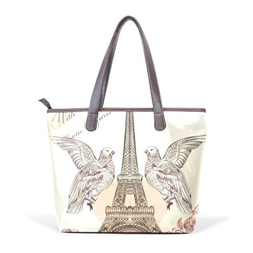 COOSUN Torre Eiffel grandes mango de cuero Bolsa de hombro bolsa de asas de mano de PU L (33x45x13) cm muticolour