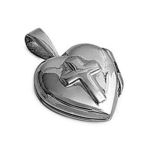 Cross Heart Locket Pendant .925 Sterling Silver Puffed Charm Vintage Crafting Pendant Jewelry Making Supplies - DIY for Necklace Bracelet Accessories by CharmingSS