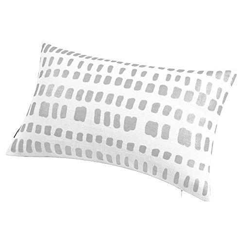 Aitliving Metallic Silver Foil Print Throw Pillow Shell Off White Linen Blend AmaZulu Geo Pillow Sham Bolster Cushion Cover Accent Breakfast Pillow Case 30X50cm, ()