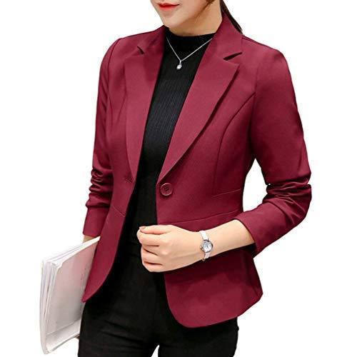 Mujer Traje De Ocio Office Otoño Abrigo Botonadura Manga Larga Chaqueta De Traje Modernas Casual Slim Fit Color Sólido De Solapa Hipster Outwear Rot