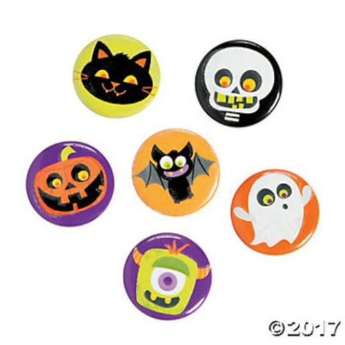 Witch Mini Glitter Top Hat (24 Glow in the Dark Halloween Buttons Party Favor LOOT BAG TRICK OR TREAT)