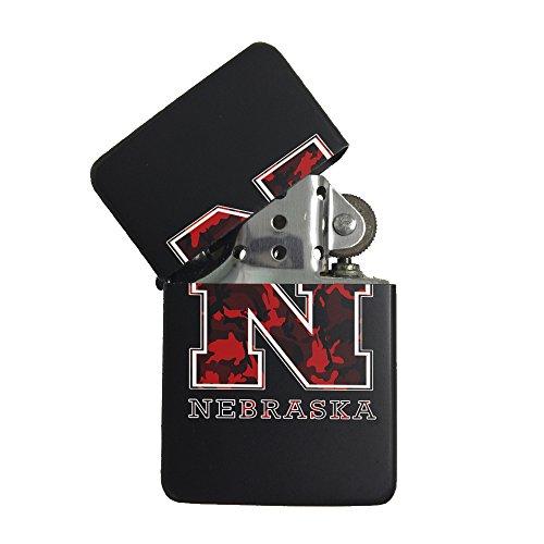 Nebraska Red Camouflage Black Flip Top Cigarette Lighter