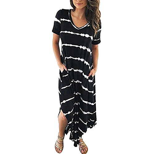 TnaIolral Women Dresses Striped Short Sleeved Pocket Split Irregular Hem Long Beach Skirt Black