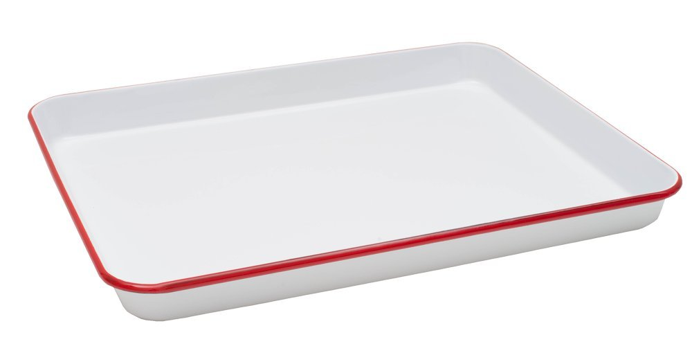 Crow Canyon Home Enamelware Jelly Roll Tray - Solid White Red Rim