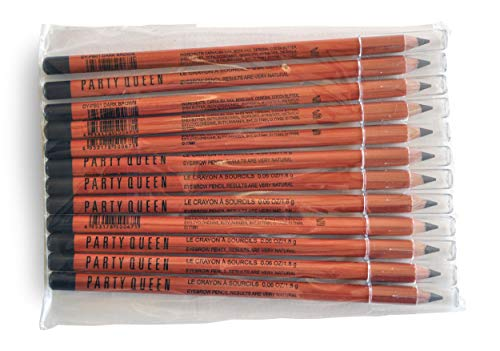 (Eyebrow pencils - Party Queen - Dark Brown - 12 pcs - Excellent Eyebrow Designing tool for Mircroblading and PMU Artist (Dark Brown))