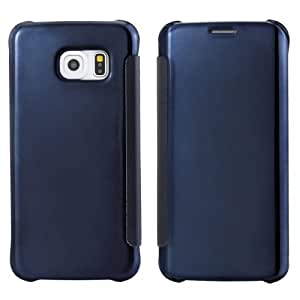 Horizontal Flip Solid Color Plating Mirror Leather Case for Samsung Galaxy S6 edge / G925 (Dark Blue)