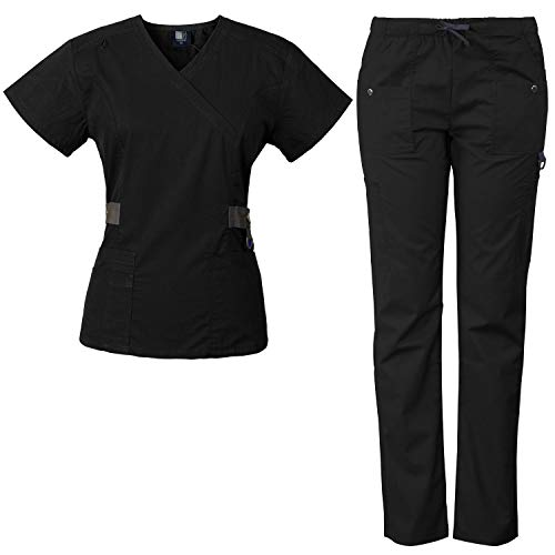 Medgear 12-Pocket Women's Scrub Set with Silver Snap Detail & Contrast Trim (Black, M)